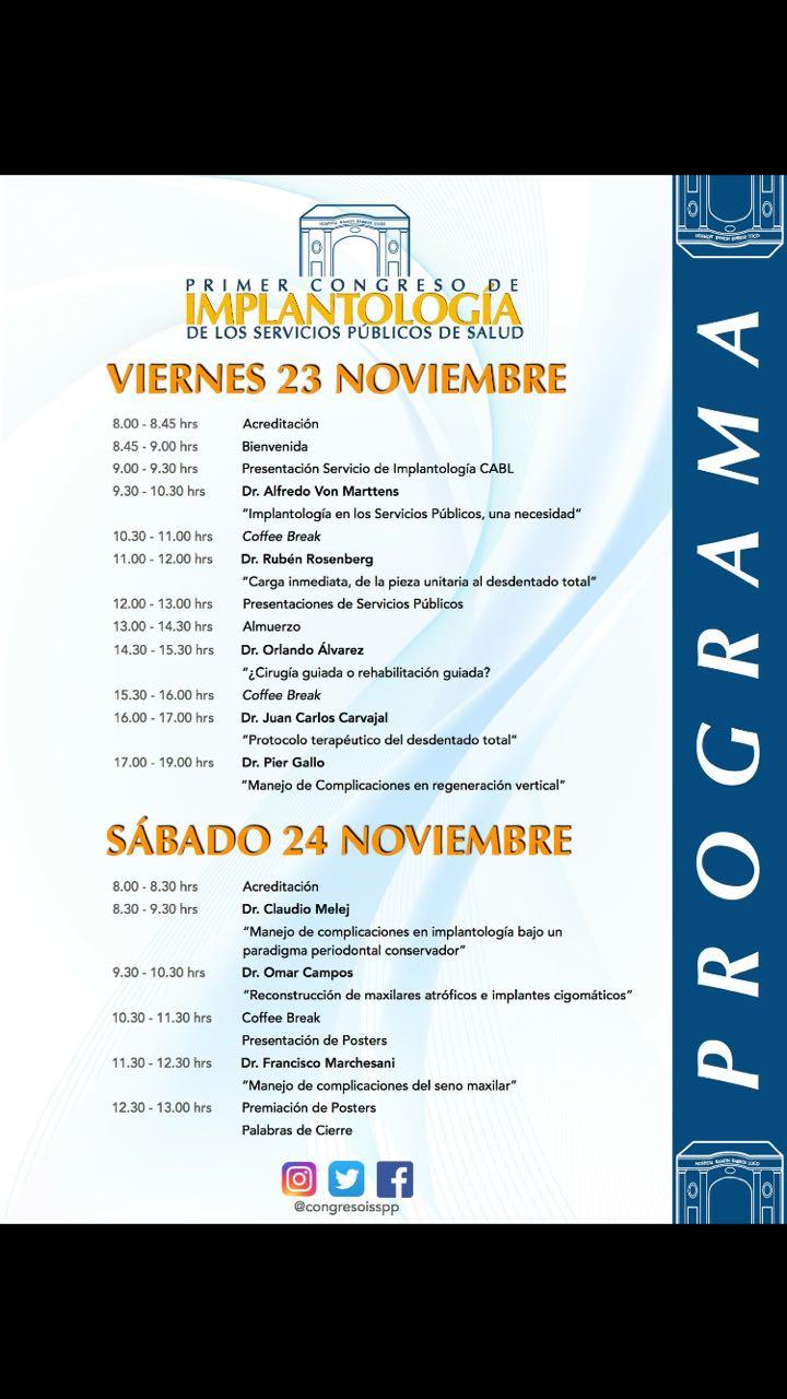 Primer Congreso de Implantología de los Servicios Públicos de Salud