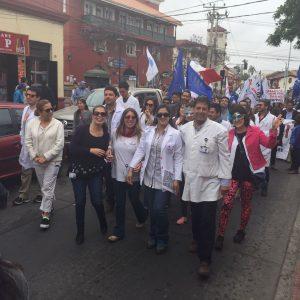 Marcha protagonizada por funcionarios del Hospital de La Serena.