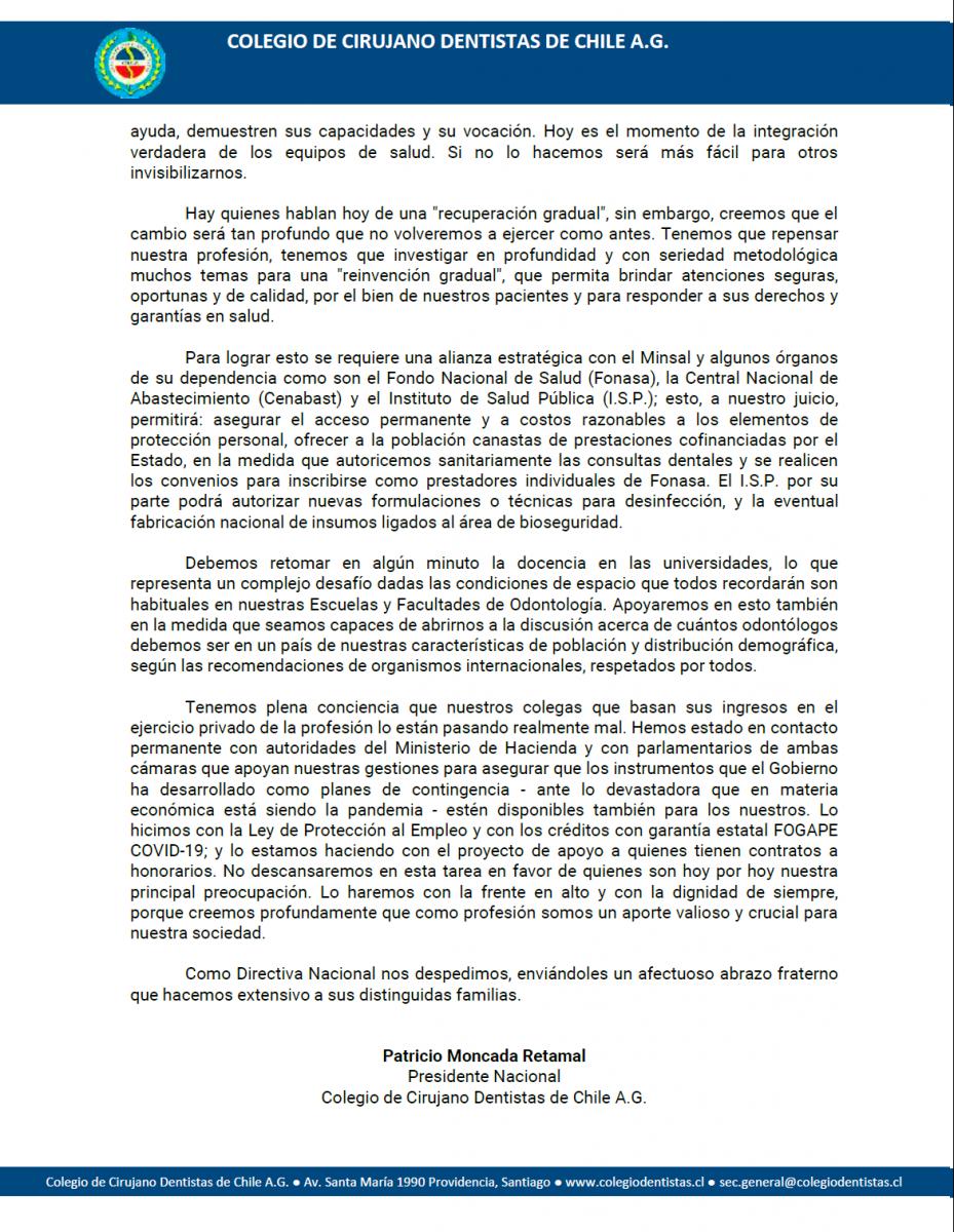 Carta abierta a la Comunidad Odontológica Nacional